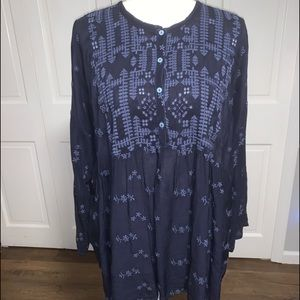 Johnny Was LA JWLA Blue Embroidered Tunic Small